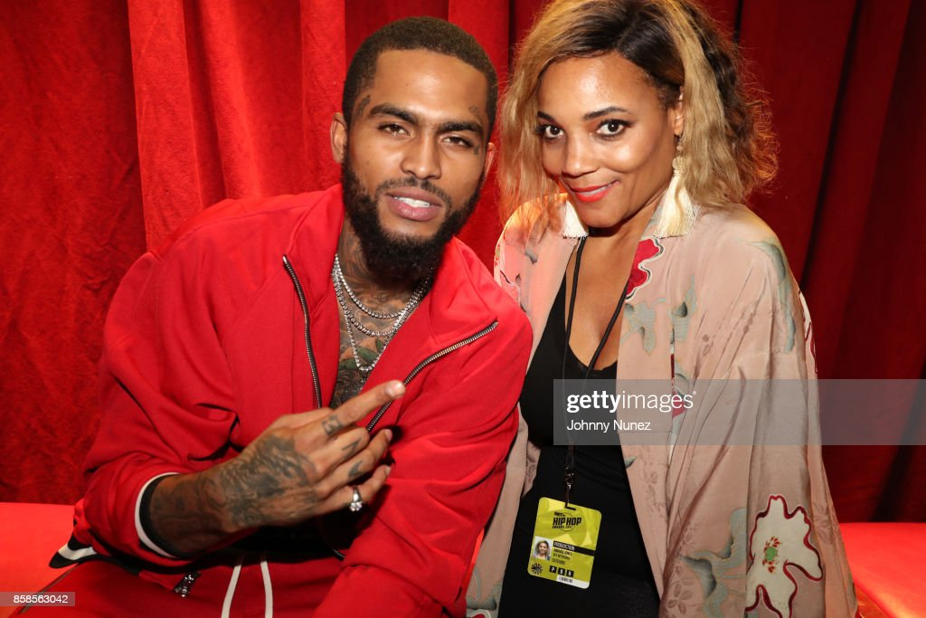 Dave East and Amaris Jones arrive at the 2017 BET Hip Hop Awards on October 6, 2017 in Miami Beach, Florida.