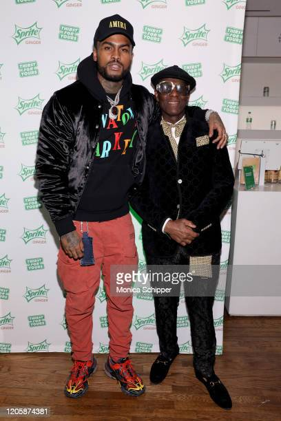 Dave East and Dapper Dan arrive at Extra Butter NYC for the Sprite Ginger Collection drop event and limited-edition fashion collection debut on...