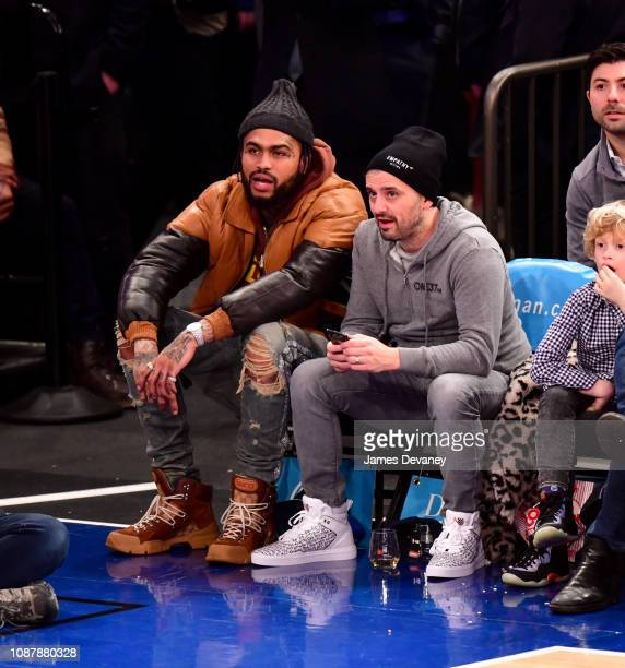 Dave East and Gary Vaynerchuk attend Houston Rockets v New York Knicks game at Madison Square Garden on January 23 2019 in New York City