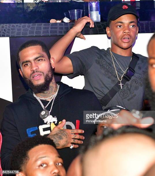 Dave East and Michael Rainey Jr attend John Wall Birthday celebration at Gold Room on September 4 2017 in Atlanta Georgia