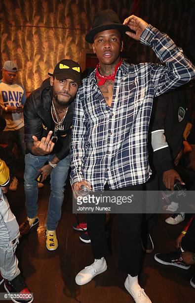 Dave East and YG backstage at YG's concert at Irving Plaza on October 17 2016 in New York City
