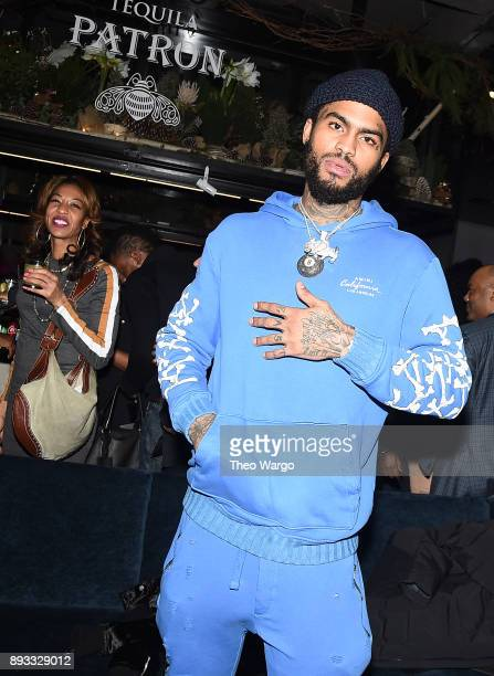 Dave East attends as Def Jam Recordings Celebrates the Holidays with Patron at Spring Place on December 14 2017 in New York City