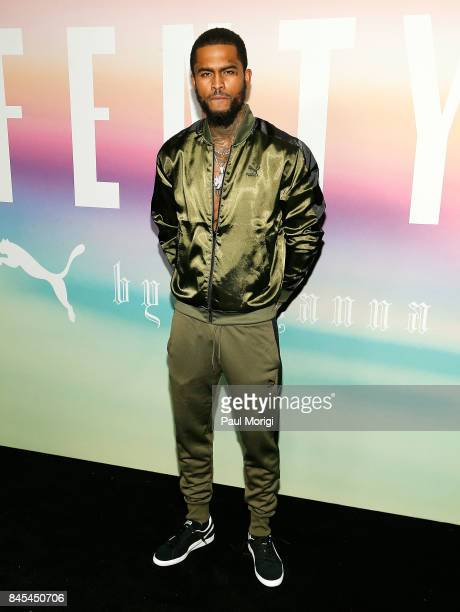 Dave East attends the Fenty Puma by Rihanna show during New York Fashion Week at the 69th Regiment Armory on September 10 2017 in New York City