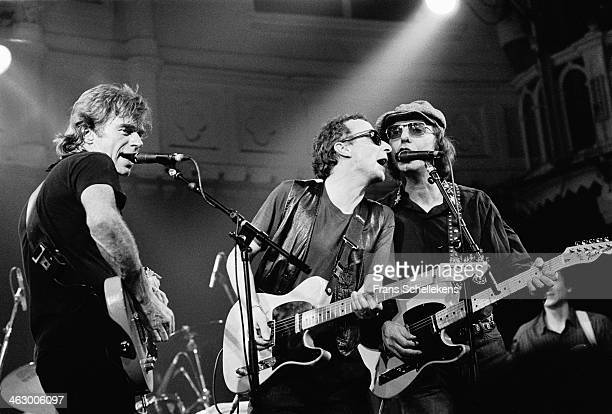 Dave Edmunds, Graham Parker & Dion Dimucci, perform at the Paradiso on 1st March 1990 in Amsterdam, the Netherlands.