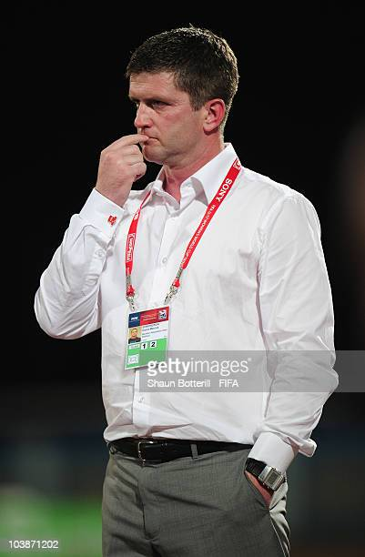 Dave Edmundson coach of New Zealand during the FIFA U17 Women's World Cup Group C match between New Zealand and Venezuela at the Ato Boldon Stadium...