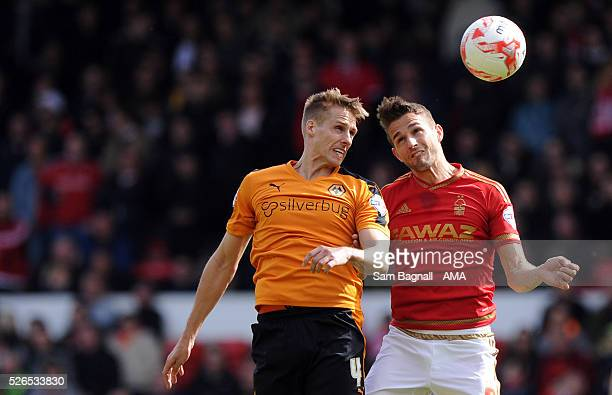 Dave Edwards of Wolverhampton Wanderers and Chris Cohen of Nottingham Forest during the Sky Bet Championship match between Nottingham Forest and...