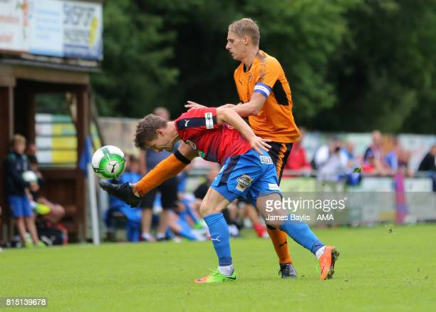 Dave Edwards of Wolverhampton Wanderers and Vaclav Pilar of FC Viktoria Plzen during the preseason friendly between FC Viktoria Plzen and...