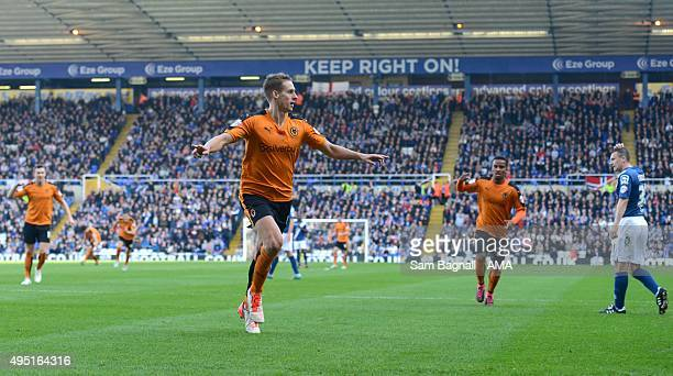 Dave Edwards of Wolverhampton Wanderers celebrates after scoring a goal to make it 01 during the Sky Bet Championship match between Birmingham City...