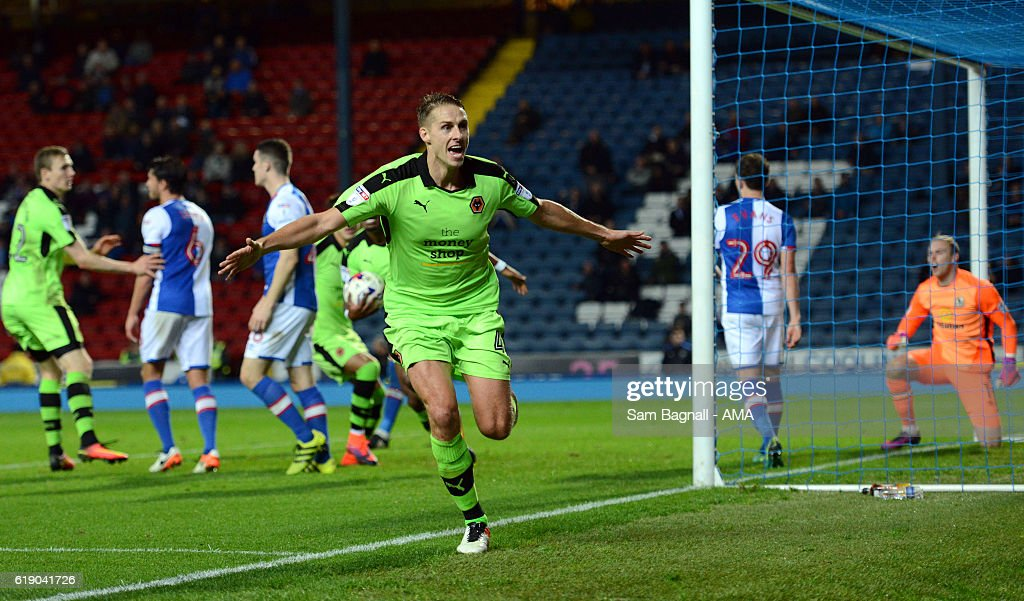 Dave Edwards of Wolverhampton Wanderers celebrates after scoring a goal to make it 1-1 during the Sky Bet Championship match between Blackburn Rovers and Wolverhampton Wanderers at Ewood Park on October 29, 2016 in Blackburn, England.
