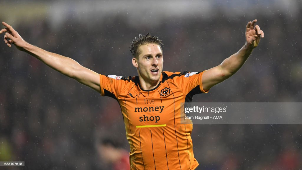 Dave Edwards of Wolverhampton Wanderers celebrates after scoring a goal to make it 0-2 during the Sky Bet Championship match between Barnsley and Wolverhampton Wanderers at Oakwell Stadium on January 31, 2017 in Barnsley, England.