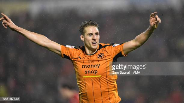 Dave Edwards of Wolverhampton Wanderers celebrates after scoring a goal to make it 02 during the Sky Bet Championship match between Barnsley and...