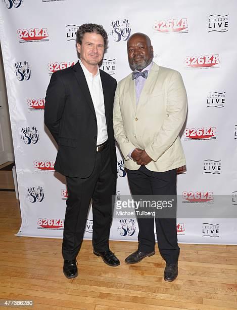 Dave Eggers and Gerald Richards attend the 826LA 10th Anniversary Gala at Santa Monica Bay Woman's Club on June 16 2015 in Santa Monica California