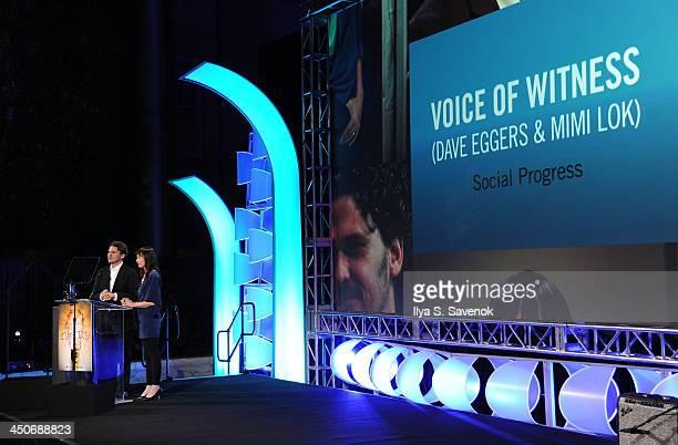 Dave Eggers and Mimi Lok speak during Smithsonian Magazine's 2013 American Ingenuity Awards on November 19 2013 in Washington DC