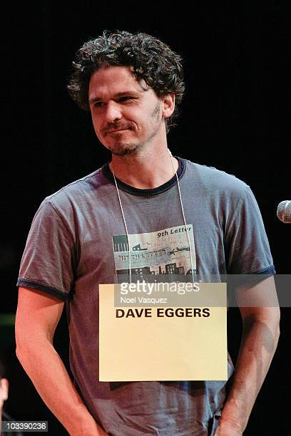 Dave Eggers attends the 'A Spelling Bee For Cheaters' benefit for 826LA tutoring center on Lincoln Middle School August 14 2010 in Santa Monica...