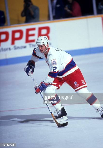 Dave Ellett of the Winnipeg Jets skates on the ice during an NHL game in October 1990 at the Winnipeg Arena in Winnipeg Manitoba Canada
