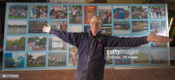 Dave Evans completes what he expects to be the world's largest hand cut wooden jigsaw puzzle in Weymouth Dorset
