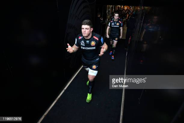 Dave Ewers of Exeter Chiefs makes his way out onto the pitch for kick off during the Gallagher Premiership Rugby match between Exeter Chiefs and...