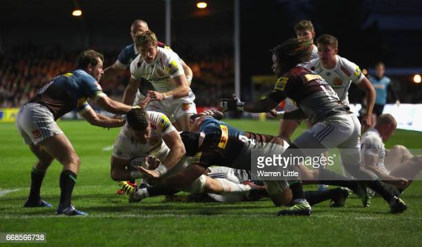 Dave Ewers of Exeter Chiefs scores a try during the Aviva Premiership match between Harlequins and Exeter Chiefs at Twickenham Stoop on April 14 2017...