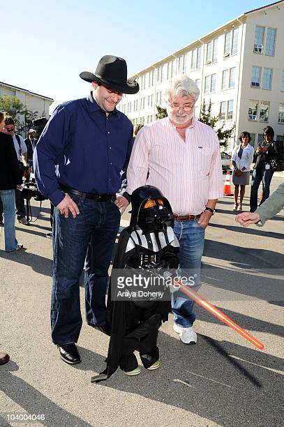 Dave Filoni and George Lucas attend Star Wars: The Clone Wars Season 3 Premiere Event on September 10, 2010 in San Francisco, California.