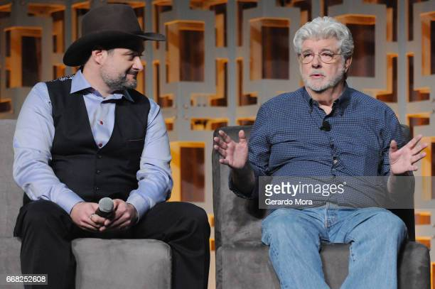 Dave Filoni and George Lucas attend the 40 Years of Star Wars panel during the 2017 Star Wars Celebration at Orange County Convention Center on April...