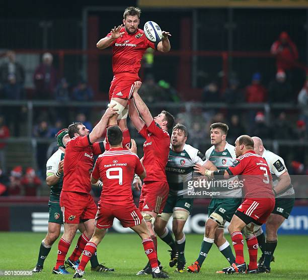 Dave Foley of Munster wins the lineout during the European Rugby Champions Cup match between Munster and Leicester Tigers at Thomond Park on December...