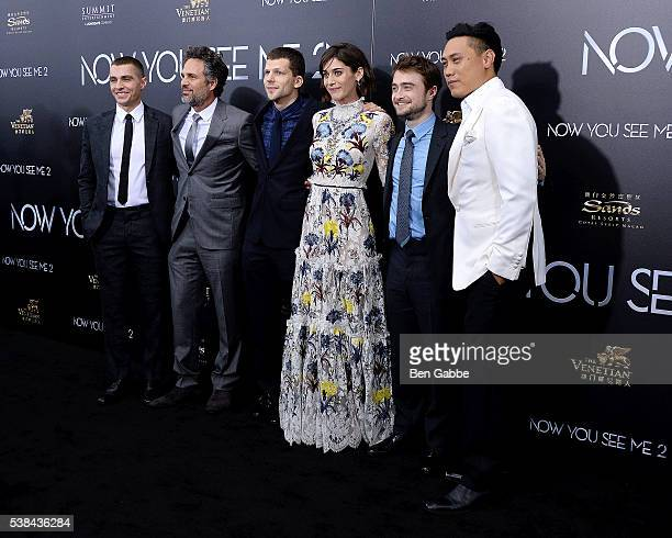 Dave Franco Mark Ruffalo Jesse Eisenberg Lizzy Caplan Daniel Radcliffe and director Jon M Chu attend the Now You See Me 2 World Premiere at AMC Loews...