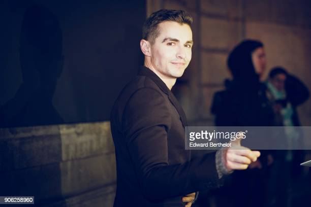 Dave Franco outside Valentino during Paris Fashion Week Menswear Fall Winter 2018/2019 on January 17 2018 in Paris France