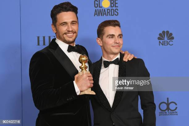 Dave Franco poses with James Francoand his award for Best Performance by an Actor in a Motion Picture Musical or Comedy in 'The Disaster Artist' in...