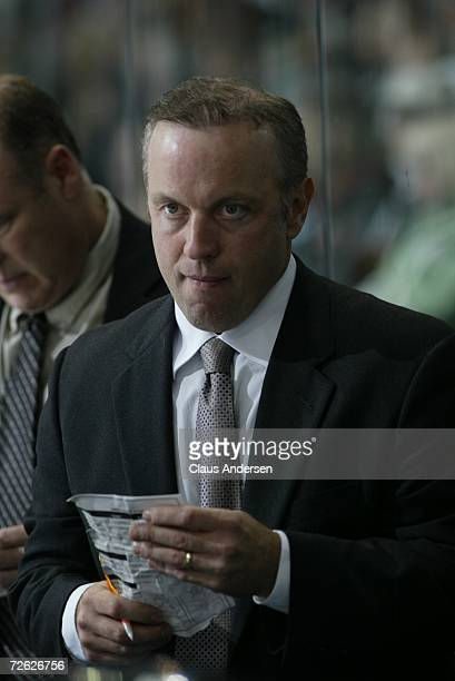 Dave Gagner of the London Knights looks over lineup against the Owen Sound Attack at the John Labatt Centre on September 29, 2006 in London, Ontario,...