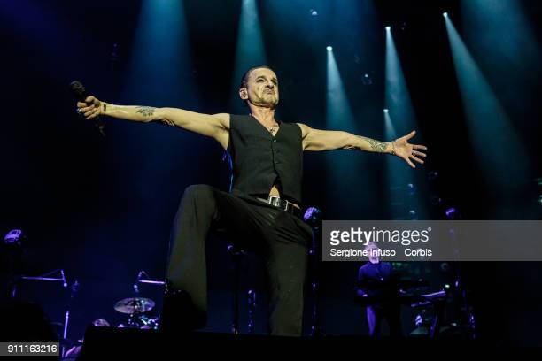 Dave Gahan and Andrew Fletcher of Depeche Mode perform on stage at Mediolanum Forum of Assago on January 27 2018 in Milan Italy