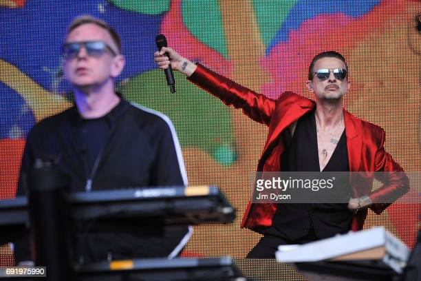 Dave Gahan and Andy Fletcher of Depeche Mode perform live on stage, during the 'Spirit' tour, at the London Stadium in the Queen Elizabeth Olympic...