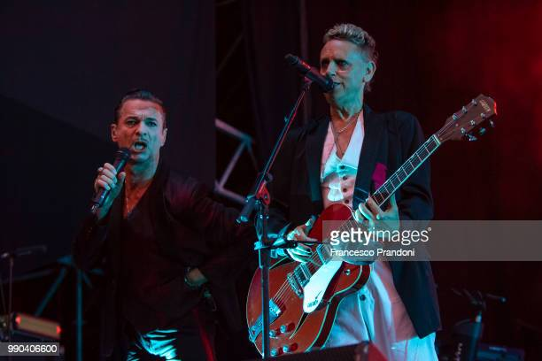 Dave Gahan and Martin Gore of Depeche mode perform on stage at Collisioni Festival on July 2 2018 in Barolo Cuneo Italy