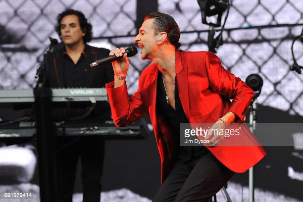 Dave Gahan and Peter Gordeno of Depeche Mode perform live on stage, during the 'Spirit' tour, at the London Stadium in the Queen Elizabeth Olympic...