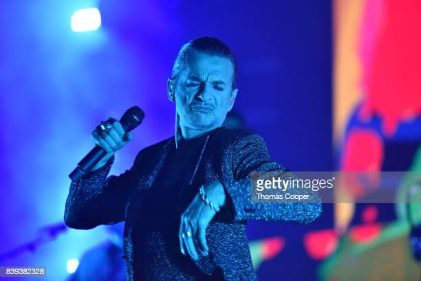 Dave Gahan lead singer for Depeche Mode performs during thier Global Spirit Tour at Pepsi Center on August 25, 2017 in Denver, Colorado.