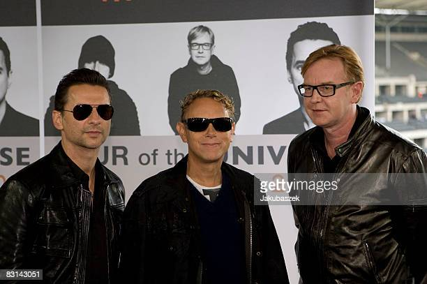 Dave Gahan Martin Gore and Andrew Fletcher of the British Synthie Pop Band Depeche Mode pose during a photo call at the Olympic stadium on October 6...