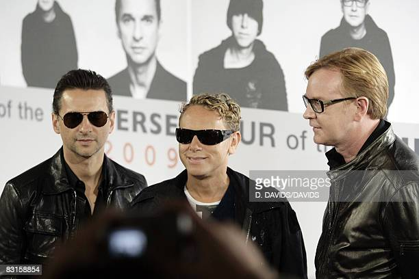 Dave Gahan Martin Gore and Andrew Fletcher pose during a press conference at the Olympic stadium on October 6 2008 in Berlin Germany They announce...