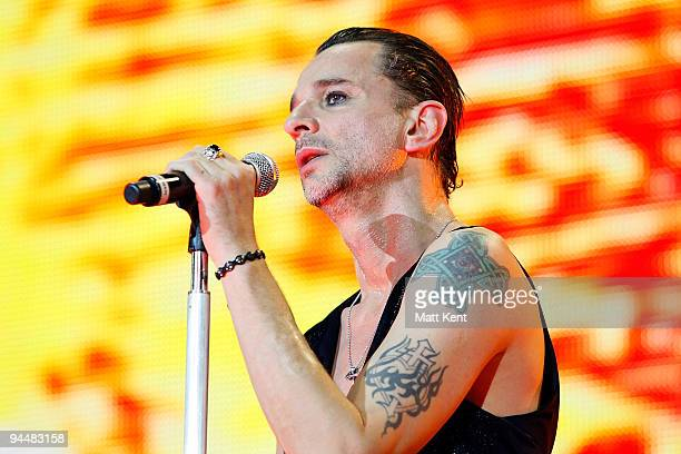 Dave Gahan of Depeche Mode perform on stage at the O2 Arena on December 15 2009 in London England