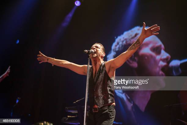 Dave Gahan of Depeche Mode performs at LG Arena on January 27, 2014 in Birmingham, England.