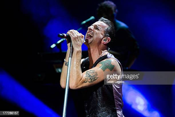 Dave Gahan of Depeche Mode performs during their tour opener in support of The Delta Machine Tour at the DTE Energy Music Theater on August 22 2013...