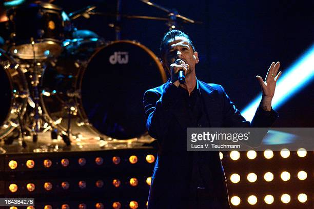 Dave Gahan of 'Depeche Mode' performs during 'Wetten, dass..?' TV Show at Stadthalle on March 23, 2013 in Vienna, Austria.