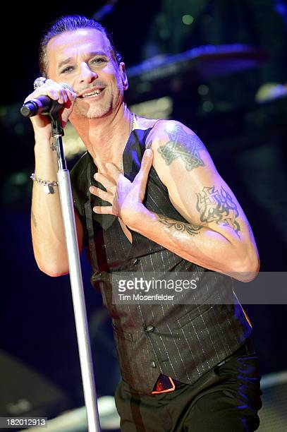Dave Gahan of Depeche Mode performs in support of the band's Delta Machine release at Shoreline Amphitheatre on September 26 2013 in Mountain View...