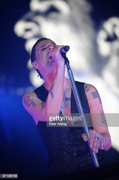 Dave Gahan of Depeche Mode performs on stage at the Esprit-Arena on February 26, 2010 in Duesseldorf, Germany.