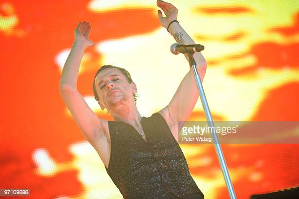 Dave Gahan of Depeche Mode performs on stage at the EspritArena on February 26 2010 in Duesseldorf Germany