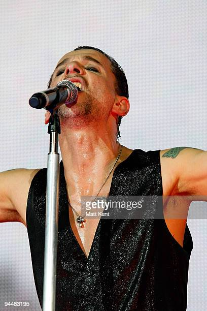 Dave Gahan of Depeche Mode performs on stage at the O2 Arena on December 15 2009 in London England