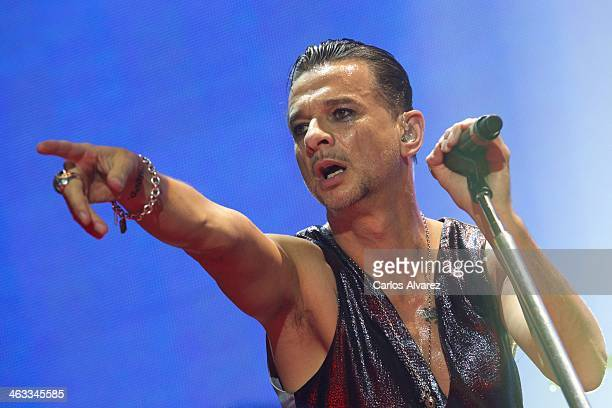 Dave Gahan of Depeche Mode performs on stage at the Palacio de los Deportes on January 17 2014 in Madrid Spain