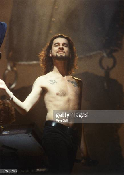 Dave Gahan of Depeche Mode performs on stage at Wembley Arena on December 20th, 1993 in London, England.