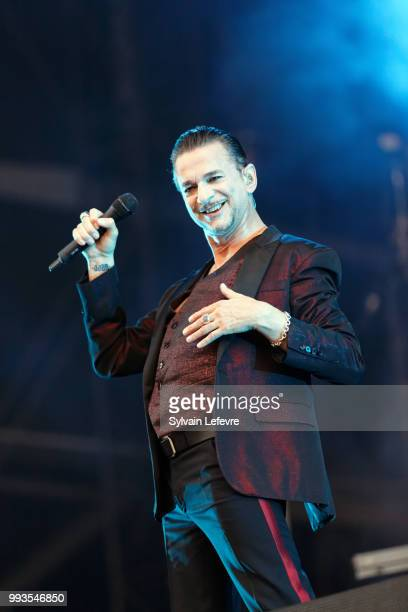 Dave Gahan of Depeche Mode performs on stage with his band during Arras' Main Square festival day 2 on July 7, 2018 in Arras, France.