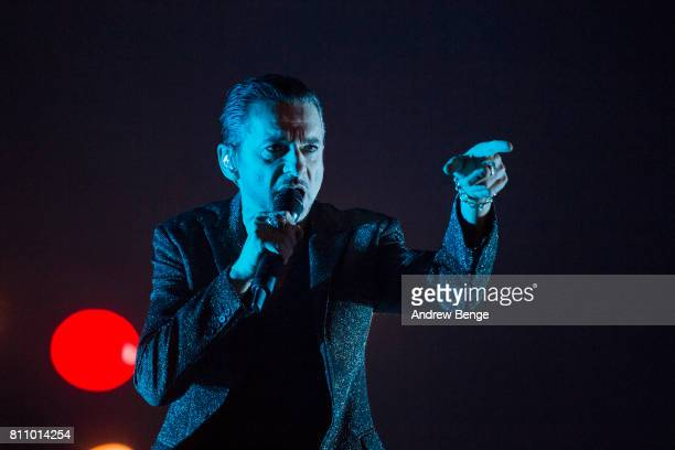 Dave Gahan of Depeche Mode performs on the NOS Alive stage during day 3 of NOS Alive on July 8 2017 in Lisbon Portugal