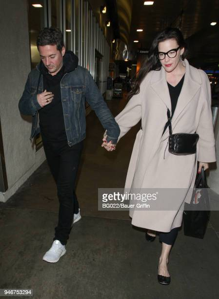 Dave Gardner and Liv Tyler are seen at LAX on April 15 2018 in Los Angeles California