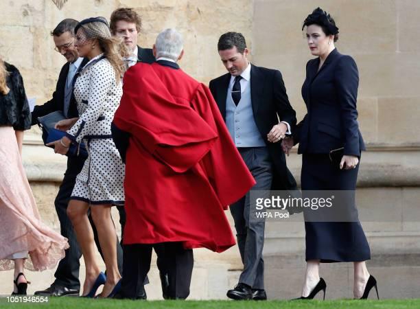 Dave Gardner and Liv Tyler arrive ahead of the wedding of Princess Eugenie of York to Jack Brooksbank at Windsor Castle on October 12 2018 in Windsor...